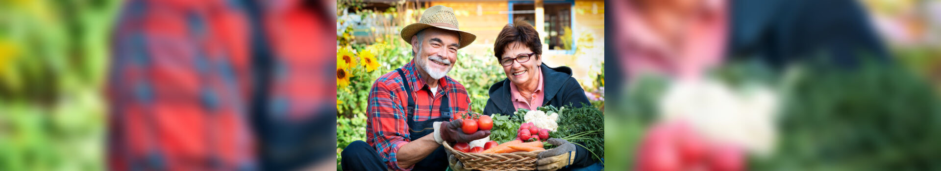 couples holding vegetable basket